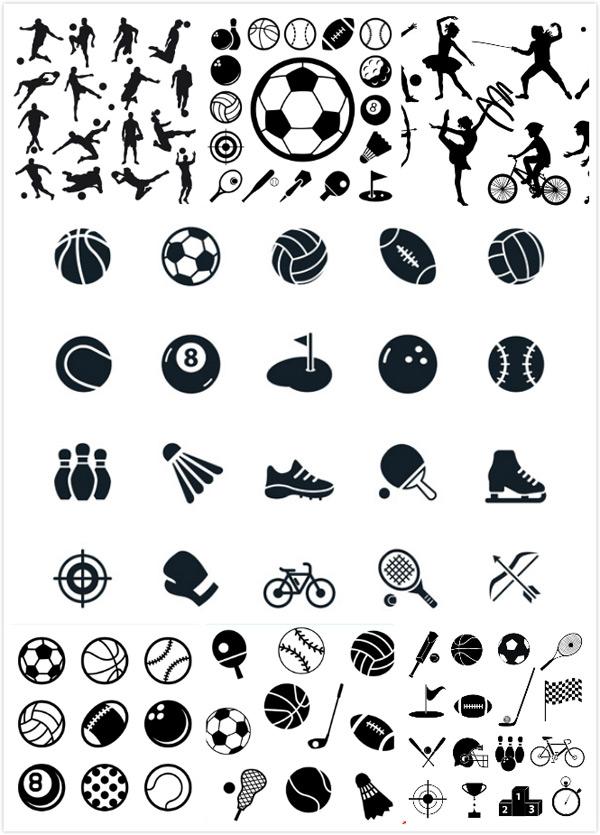 体育运动剪影图标矢量素材,球类运动,足球,橄榄球,保龄球,台球,棒球,排球,乒乓球,球类,高尔夫,运动员剪影,足球,运动员,击剑,自行车,棒球,射箭,滑冰,体育运动,体育漫画,体育插画卡,EPS