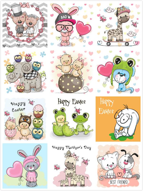 小猫,小狗,可爱,卡通动物漫画,动物插画,动物插图,陆地动物,生物世界