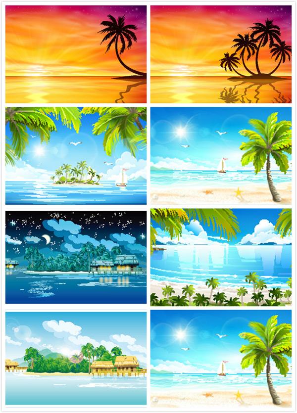 椰子树沙滩景色