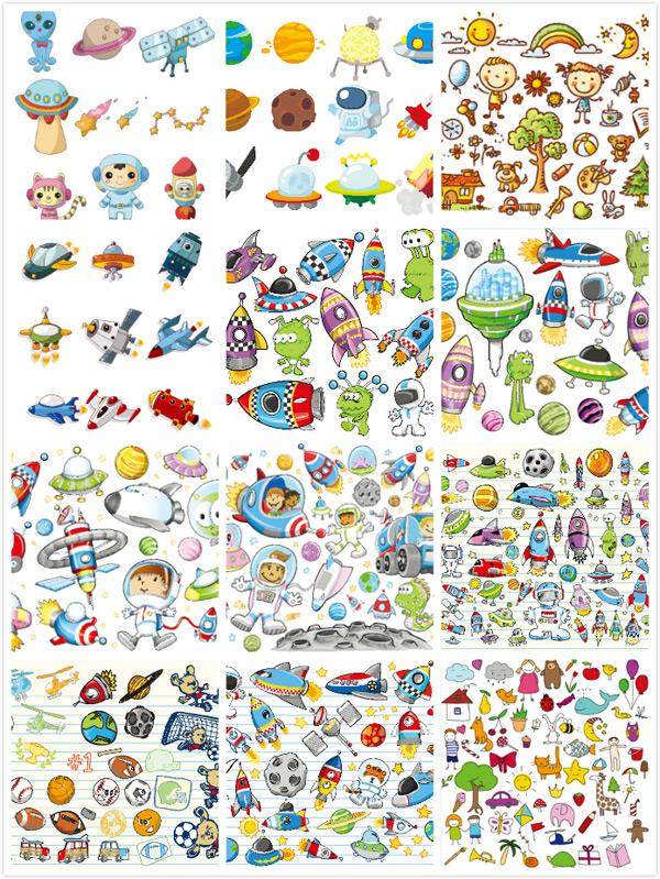 时尚元素,卡通插画,儿童画,宇宙,外星人,星球,篮球,球类,手绘笔记本