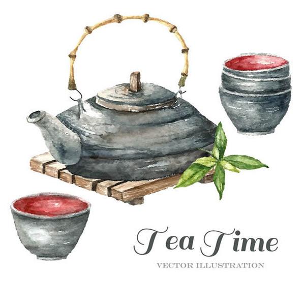 水彩绘茶壶和茶杯