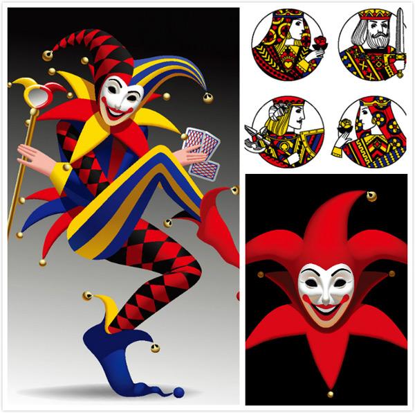 滑稽的小丑人物插画矢量素材
