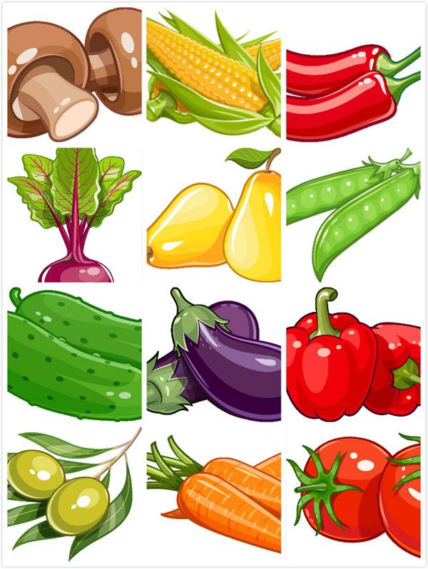 时尚卡通蔬菜设计矢量素材