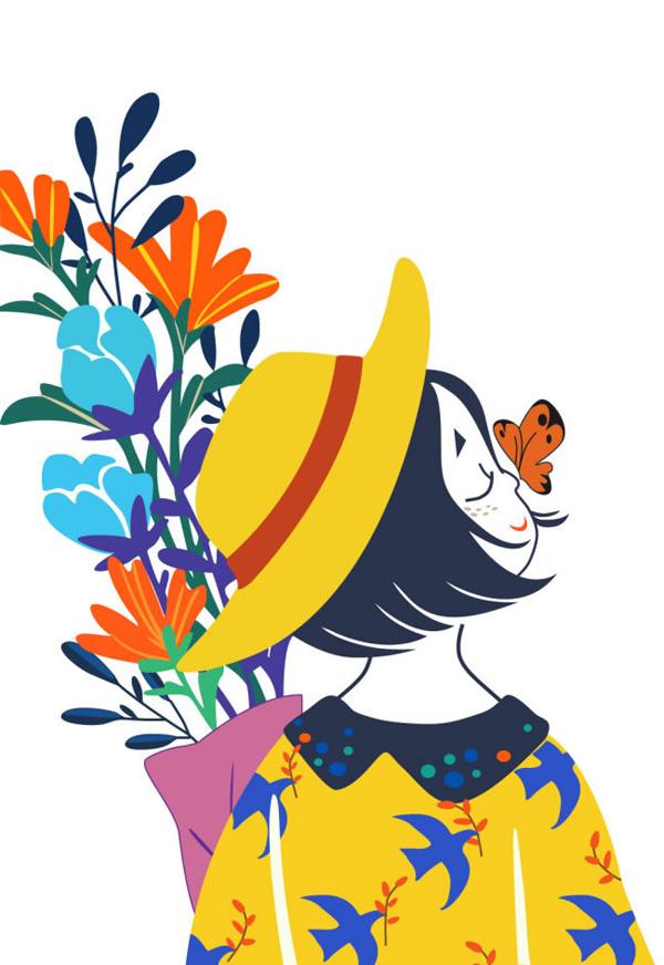 手绘插画女孩与花朵