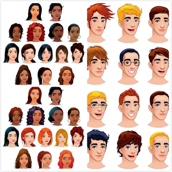 女性插图,美发模特,卡通人物头像,卡通人物,漫画人物,潮男发型,其他人