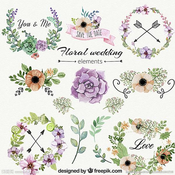 手绘花边花朵矢量