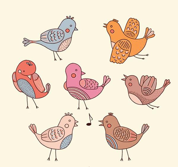 手绘矢量图,手绘鸟类,小鸟矢量图,卡通小鸟,鸟类,小鸟,卡通,手绘,音符