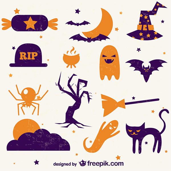 万圣节,复古,图标,矢量图,骷髅,南瓜,黑猫,幽灵,糖果,蝙蝠,矢量图,ai