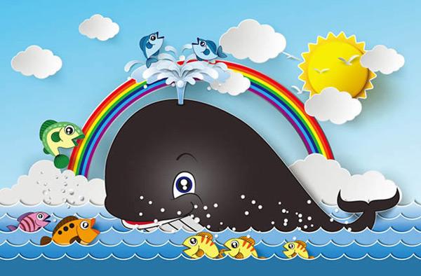 卡通鲸鱼和彩虹矢量图下载,卡通,鲸鱼,彩虹,海洋,鱼,太阳,云朵,矢量图