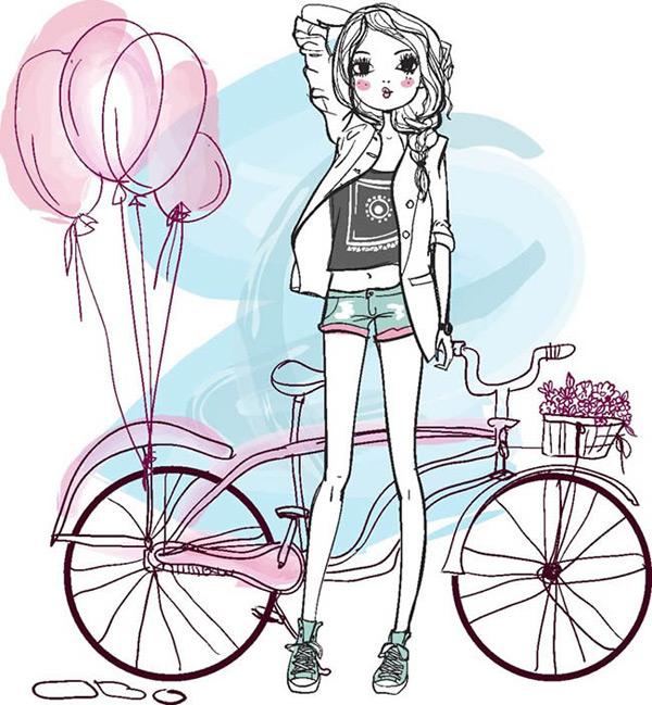 手绘自行车与女孩漫画矢量图下载,手绘,自行车,卡通,女孩,气球,漫画
