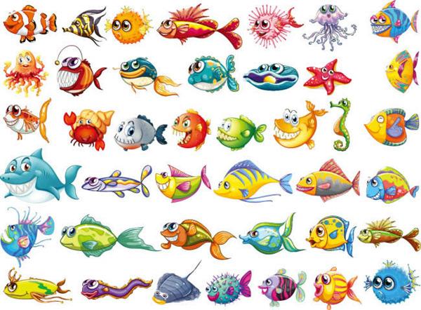 41款卡通海洋鱼类矢量图下载,卡通,海洋鱼类,鱼,热带鱼,动物,鲨鱼