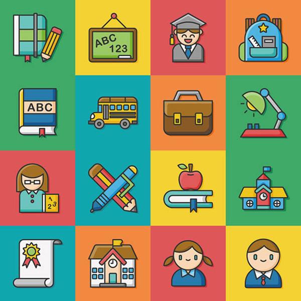 图标矢量图下载扁平化卡通学习图标矢量下载,证书,校车,笔,书本,老师