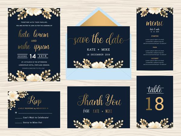 广告设计,黑色风格,婚礼,请帖请柬,设计模板,矢量素材,鲜花,邀请函图片