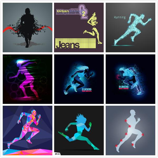 抽象人物,运动员,跑步,快跑,竞技,健身,运动,卡通动漫,卡通人物,体育