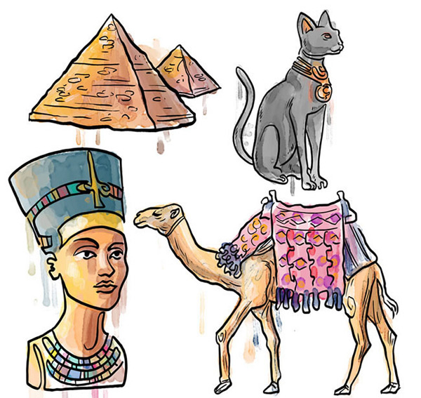手绘水彩埃及元素