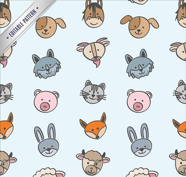 卡通动物头像无缝背景矢量图下载,卡通动物头像无缝背景矢量素材,卡通动物头像无缝背景矢量图下载,卡通,动物,头像,无缝背景,背景图,牛头,羊头,狐狸头像,兔子头像,小猫头像,小狗头像,驴头像,山羊头像,狼头像,矢量图,ai格式