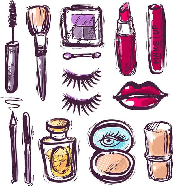 化妆品手绘图案