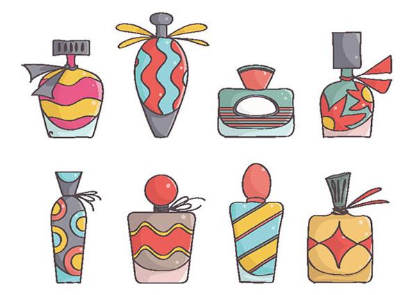 卡通,彩色,香水瓶,瓶子