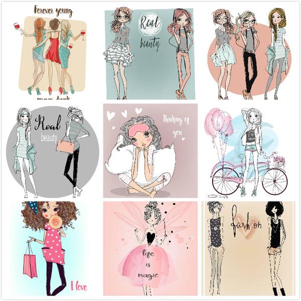 0 点 关键词: 美女插画绘画矢量素材,手绘美女,个性美女,抽象美女
