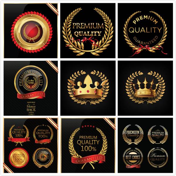 金色质感欧式徽章徽标设计矢量素材