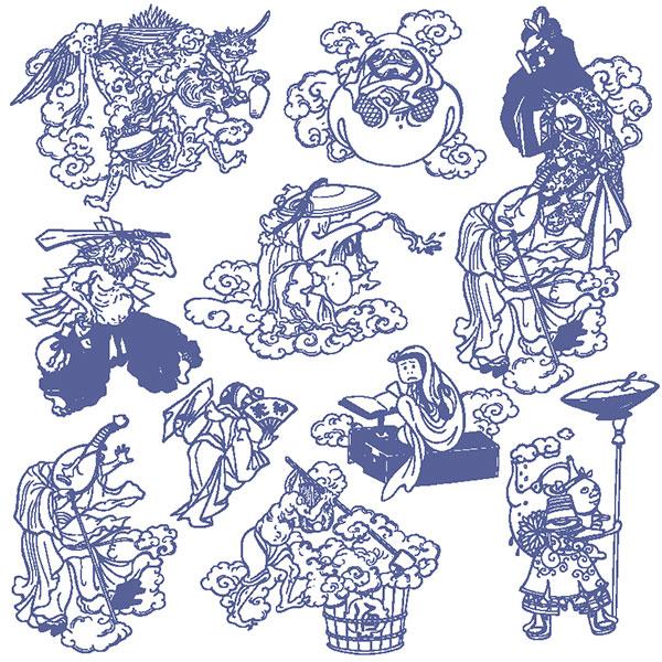 神话人物手绘插画