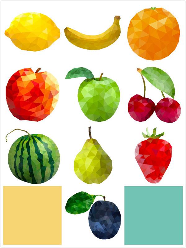 樱桃,青苹果,苹果,桔子,时尚,柠檬,香蕉,个性水果,几何多边形,三角形