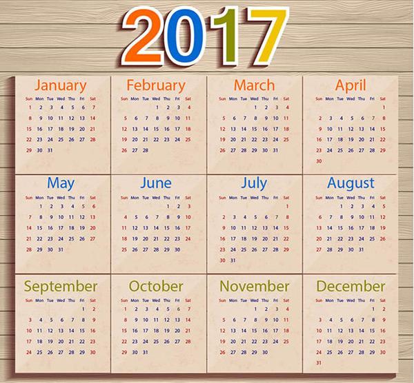 英文日历模板