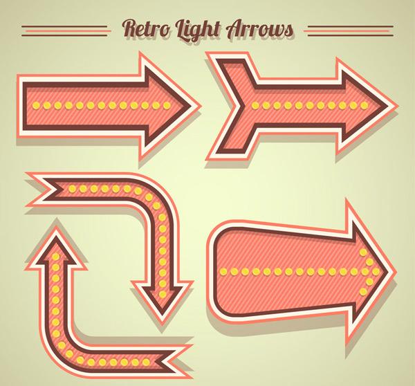 粉色霓虹灯装饰箭头矢量图下载