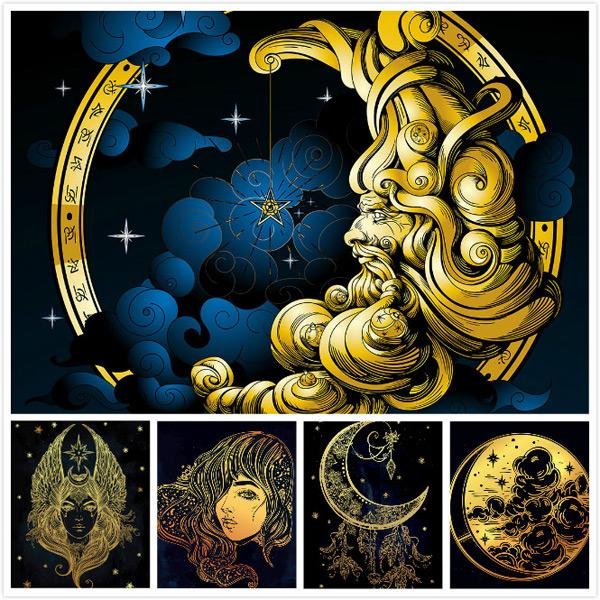 创意矢量素材,老人,云朵,质感,蓝色,月亮,线性,唯美,金色,创意,弯月