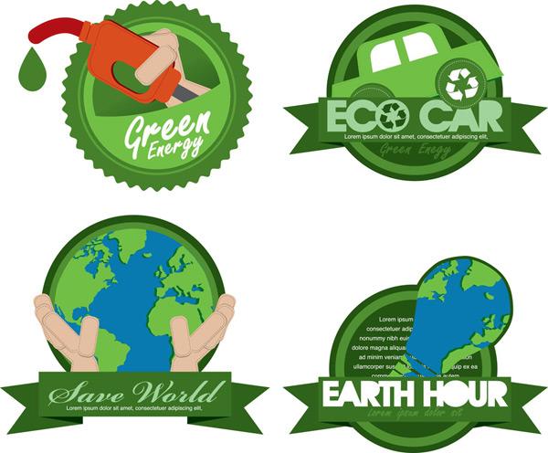环境保护,图标,设计素材,汽车,灯泡,地球,加油枪,绿色,矢量图,eps格式
