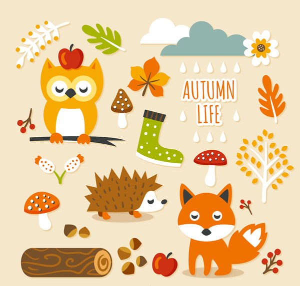 蘑菇,树木,苹果,刺猬,狐狸,浆果,橡子,云,雨,花卉,秋季,贴纸,矢量图,a