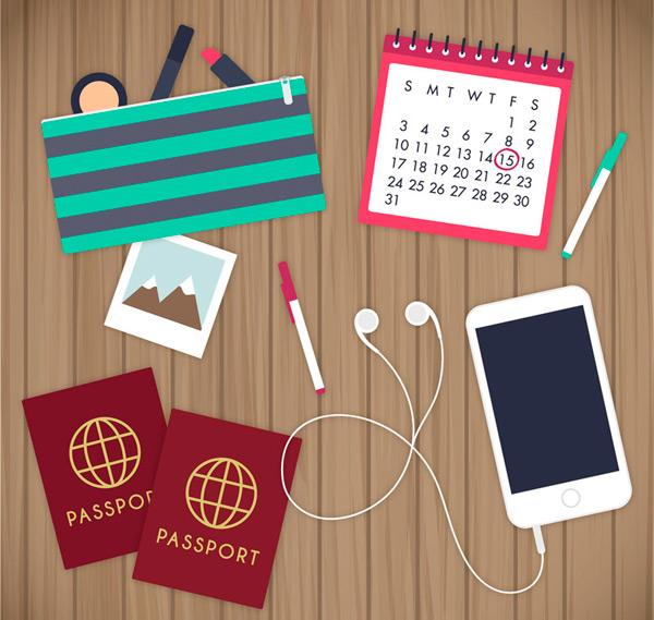 矢量学习用品所需点数: 0 点 关键词: 书桌上的物品矢量图下载,旅行