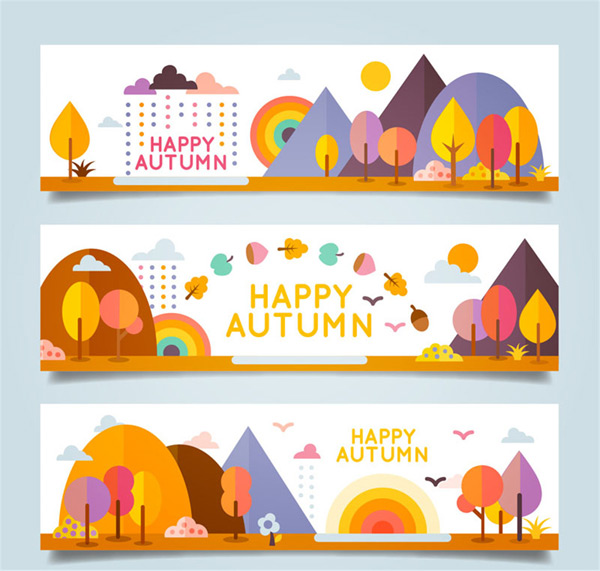 矢量设计元素所需点数: 0 点 关键词: 卡通秋季风景banner矢量图下载