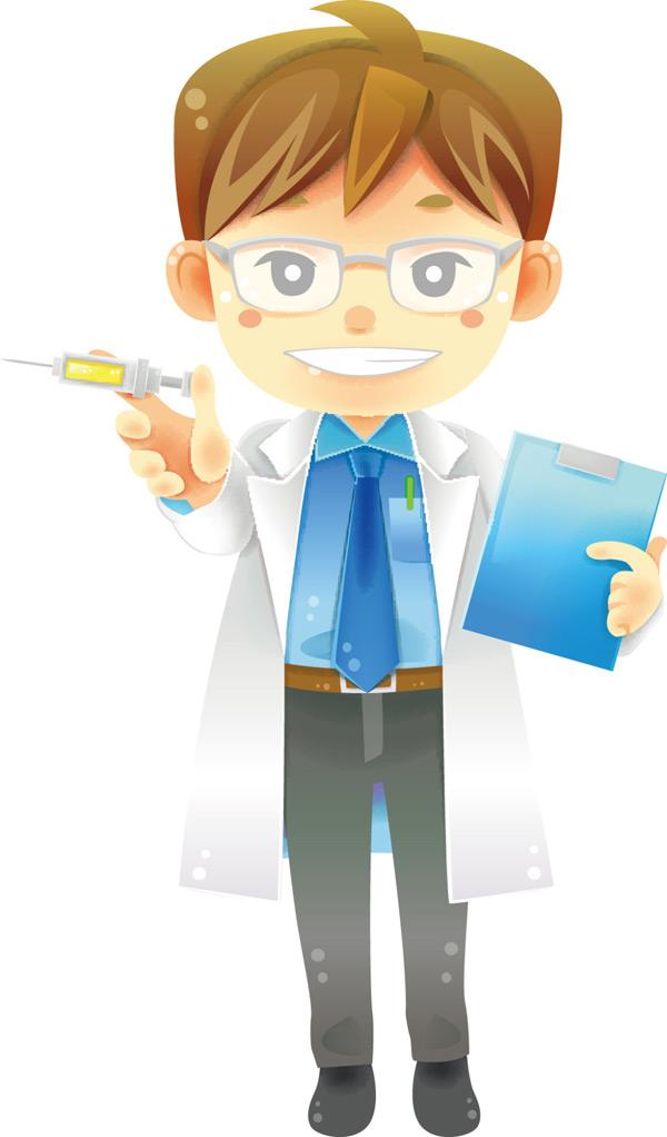 关键词: 拿着注射器的卡通医生矢量图下载,注射器,卡通,医生,职业人物图片