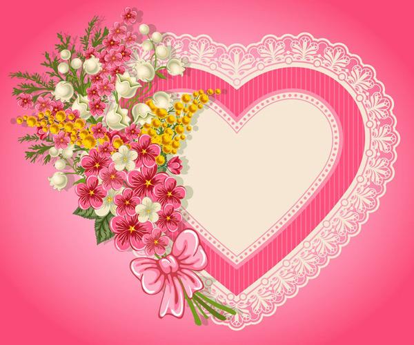 心形,背景,卡通,铃兰花,花朵,蕾丝边框,矢量图,eps格式 下载文件特别