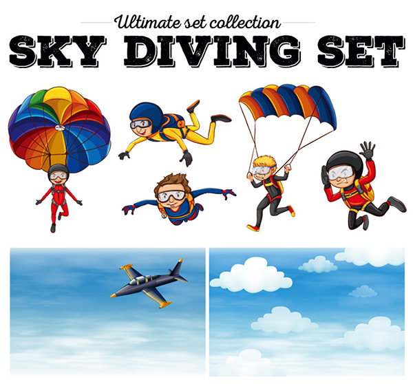 关键词: 跳伞的卡通男孩矢量图下载,云朵,蓝天,跳伞,卡通,男孩,飞机
