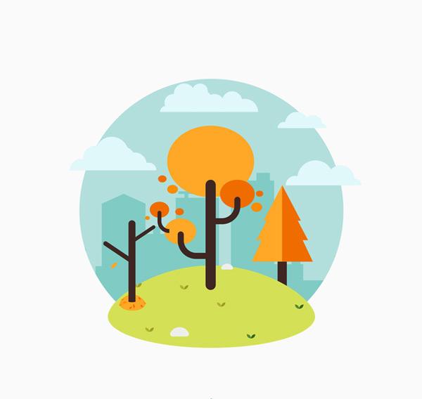 扁平风格秋季树木设计矢量图下载,扁平化,秋季,树木,云朵,剪贴,秋季,树木,植物,矢量图,ai格式