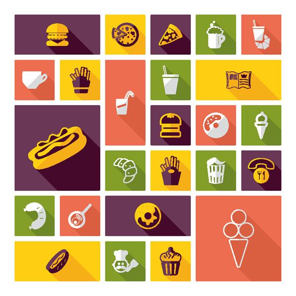 卡通快餐美食图标矢量图下载