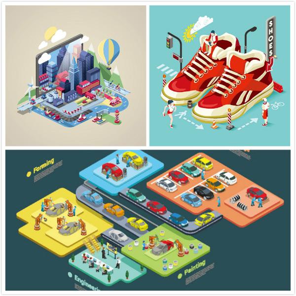 立体,等距,插画,建筑,高楼,马路,风景,城市风光,快餐,美食店,矢量图