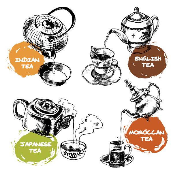 手绘茶壶设计矢量图下载,印度奶茶,英国茶,日本茶,摩洛哥茶,茶具