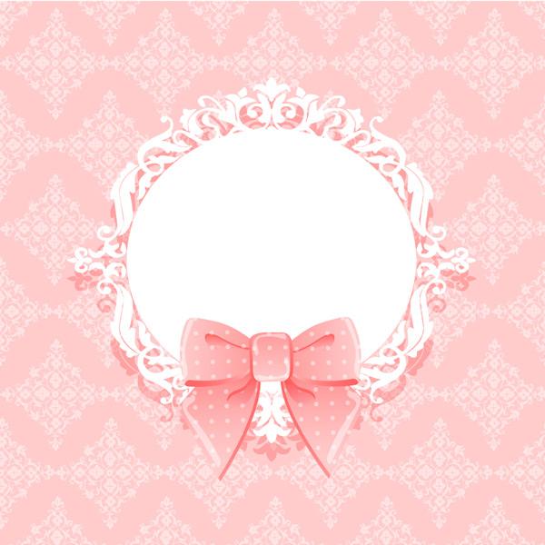 粉色蝴蝶结装饰背景矢量图下载