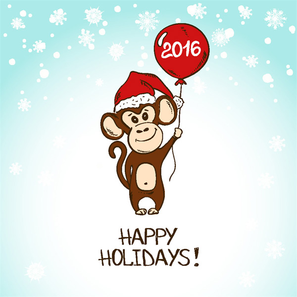 拿气球的卡通猴子