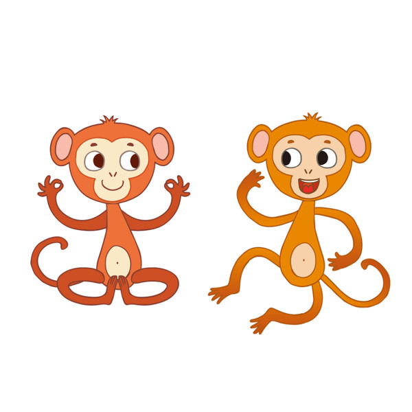 可爱卡通猴子矢量_素材中国sccnn.com