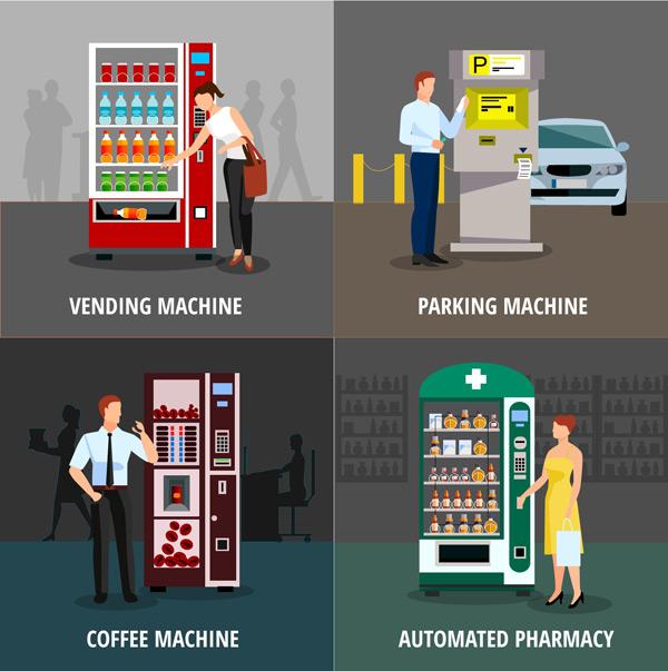 扁平化,自动售货,售货机,人物,咖啡机,加油机,矢量图,ai格式 下载文件