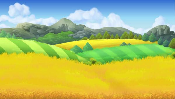 0 点 关键词: 卡通金色麦田风景矢量图下载,蓝天,云朵,山脉,农田,农