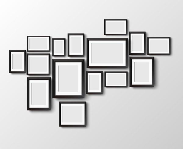 黑色相框照片墙矢量图下载