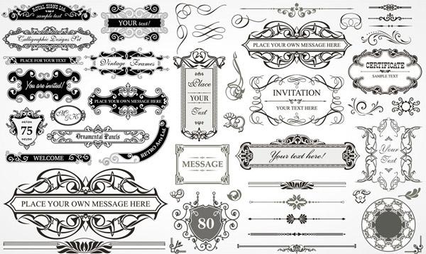 黑白花纹边框装饰元素矢量素材免费下载,矢量素材,矢量图,设计素材,花纹,花边,边框,黑白,装饰,怀旧,复古,分割线,分隔线,AI格式
