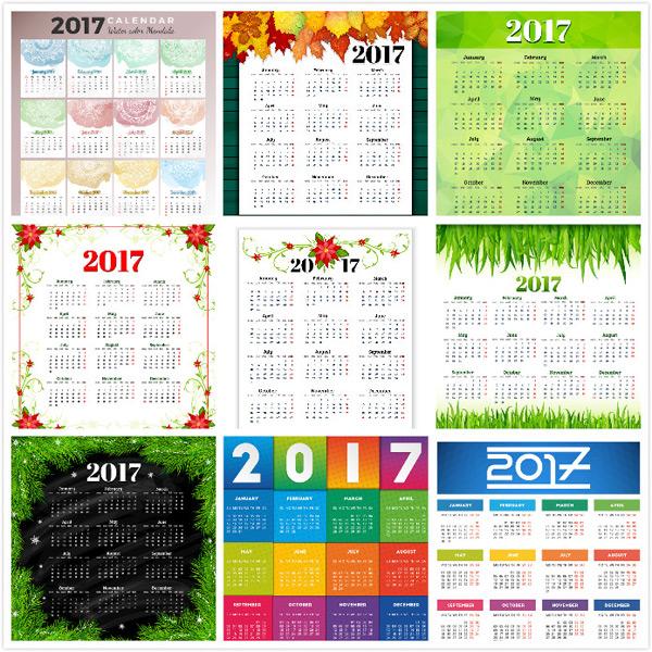 素材分类: 年历日历矢量所需点数: 0 点 关键词: 精美2017年日历设计