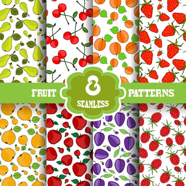 梨,樱桃,桃子,草莓,蓝莓,苹果,水果,无缝背景,矢量图,eps格式 下载