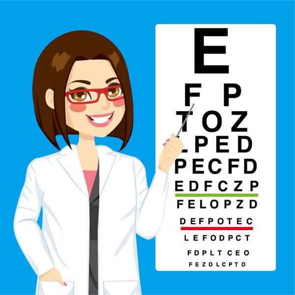 点视力表的女医生